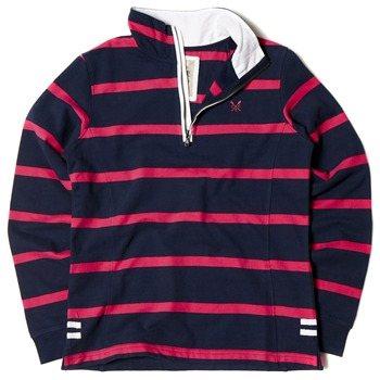 Crew Clothing Navy/Pink Striped Seaford Sweatshirt
