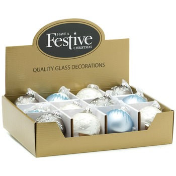 Festive Set of Twelve Light Blue/Silver Assorted Style Baubles