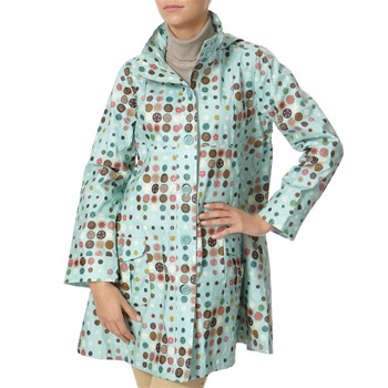 Avoca Anthology Aqua Multi Spotted Hooded Mac