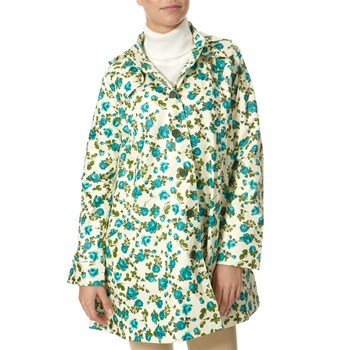 Avoca Anthology Teal/Cream Cotton Rose Print Hooded Mac