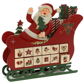 Landon Tyler Red Wooden Santa Sleigh Advent Calendar