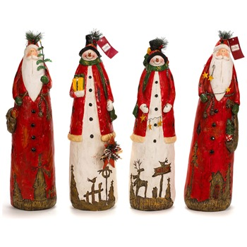 Landon Tyler Assortment of Four Father Christmas/Snowmen Decorations