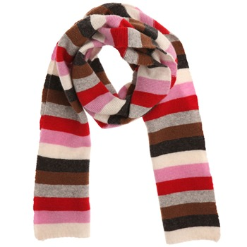 Avoca Red/Multi Striped Wool Blend Scarf