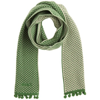 Avoca Green Pom Pom Trim Cotton Scarf