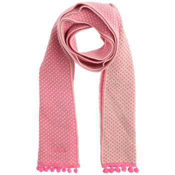 Avoca Pink Pom Pom Trim Cotton Scarf