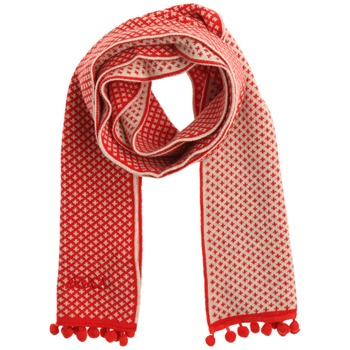 Avoca Red Pom Pom Trim Cotton Scarf