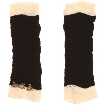 Avoca Black/Ecru Floribunda Cotton Gloves