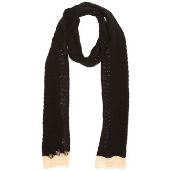Avoca Black/Ecru Floribunda Cotton Scarf