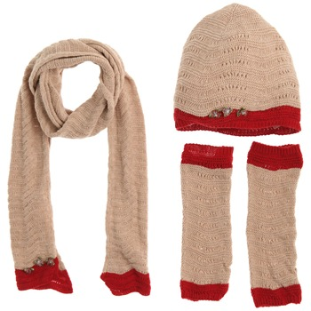 Avoca Set of Three Tan/Red Floribunda Scarf/Hat/Gloves