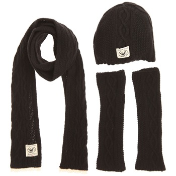 Avoca Set of Three Black Hibernate Scarf/Hat/Gloves