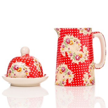 Avoca Red Antique Paisley Half Pint Jug & Butter Bell