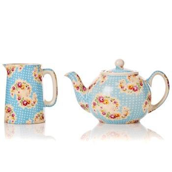 Avoca Blue Antique Paisley Half Pint Jug & 2 Cup Teapot