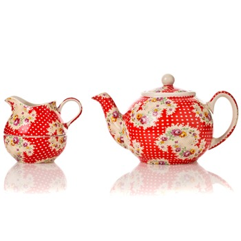 Avoca Red Antique Paisley Two Cup Teapot/Sugar/Cream Stacker
