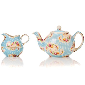 Avoca Blue Antique Paisley Two Cup Teapot/Sugar/Cream Stacker