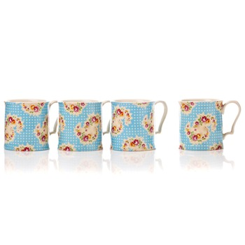 Avoca Set of F|our Blue Antique Paisley Mugs