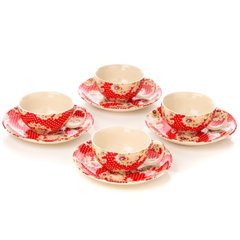 Avoca Set of 4 Red Antique Paisley Cup & Saucer Set