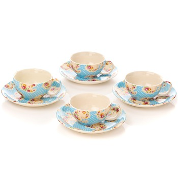Avoca Set of 4 Blue Antique Paisley Cup & Saucer Set