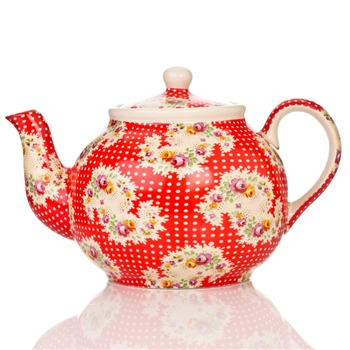 Avoca Red Antique Paisley 6 Cup Teapot