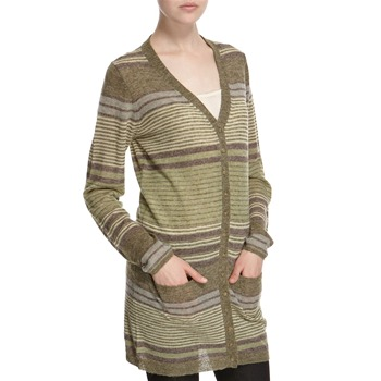 Hoss Intropia Green/Plum Striped Wool/Alpaca Blend Cardigan