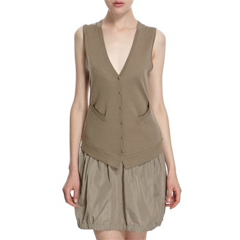 Hoss Intropia Taupe Pinafore Wool Blend Dress