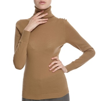 Hoss Intropia Camel Merino Wool Roll Neck Jumper
