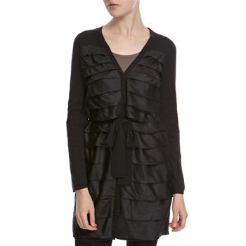 Hoss Intropia Black Silk/Cashmere Blend Long Ruffle Cardigan