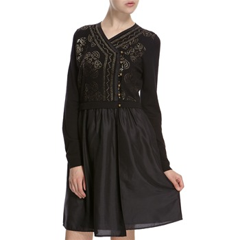 Hoss Intropia Black Silk Blend Sequin Embellished Dress