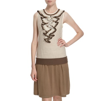 Hoss Intropia Beige/Brown Ruffle Neck Knitted Dress