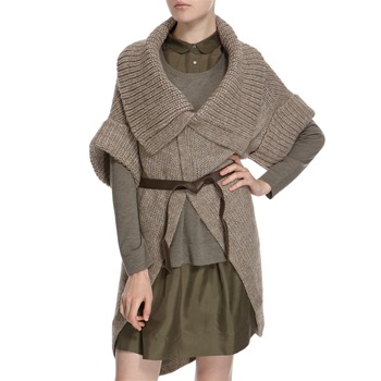Hoss Intropia Stone Knit Wool Blend Cardigan