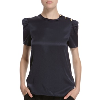 Hoss Intropia Navy Silk Three Button Blouse
