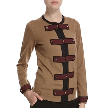Hoss Intropia Camel/Brown Trim Wool Cardigan