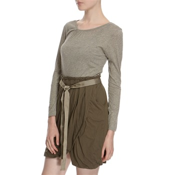 Hoss Intropia Grey/Green Belted Cotton Dress
