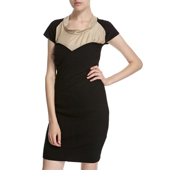 Hoss Intropia Black/Nude Wool/Silk Panelled Dress