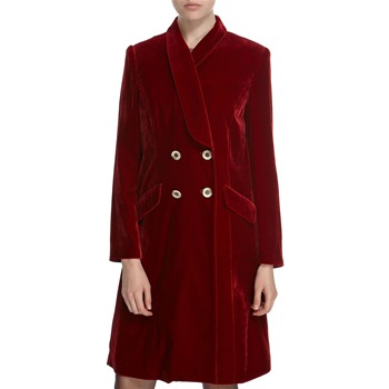 Hoss Intropia Deep Red Silk Blend Velvet Coat