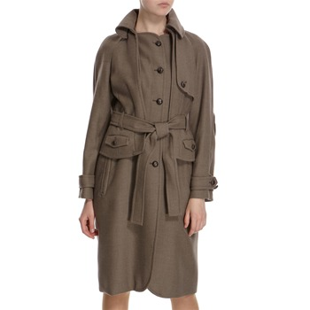 Hoss Intropia Taupe Wool Round Collar Belted Coat
