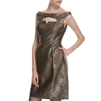 Hoss Intropia Grey Metallic Bow Dress