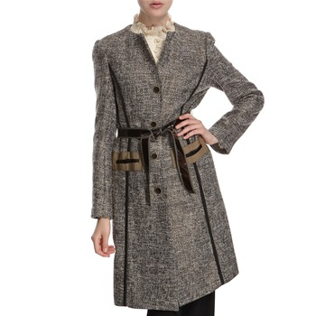 Hoss Intropia Grey/Bronze Silk/Wool Blend Belted Coat