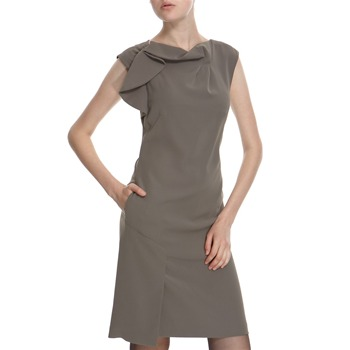 Hoss Intropia Khaki Drape Front Dress