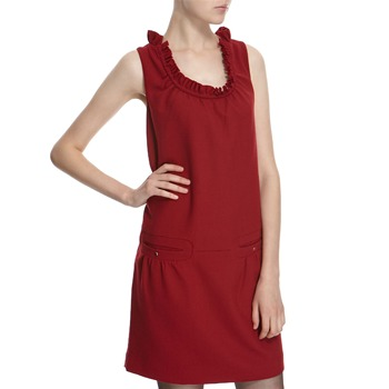 Hoss Intropia Scarlet Wool Blend Ruffle Neck Dress