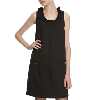 Hoss Intropia Black Wool Blend Ruffle Neck Dress