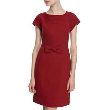 Hoss Intropia Scarlet Wool Blend Bow Front Dress