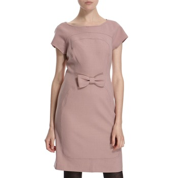 Hoss Intropia Dusty Pink Wool Blend Bow Front Dress