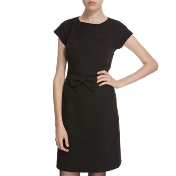 Hoss Intropia Black Wool Blend Bow Front Dress
