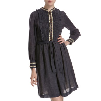 Hoss Intropia Indigo Wool/Linen Crochet Trim Dress