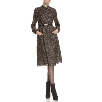 Hoss Intropia Khaki Wool/Silk Leaf Patterned Midi Dress