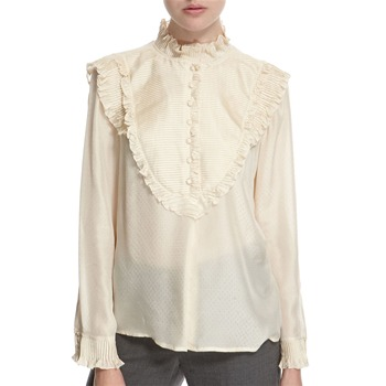 Hoss Intropia Ivory Silk Ruffled Blouse