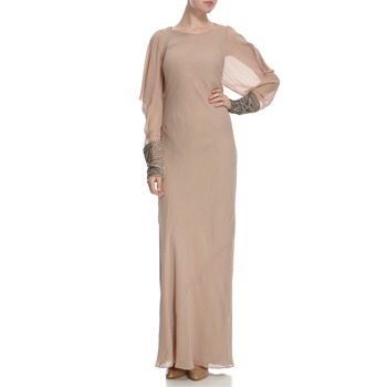 Hoss Intropia Nude Silk Embellished Cuff Dress
