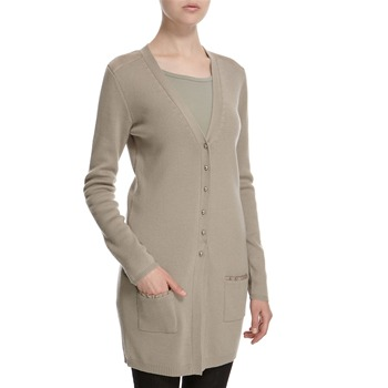 Hoss Intropia Stone Silk Trim V-Neck Wool Cardigan