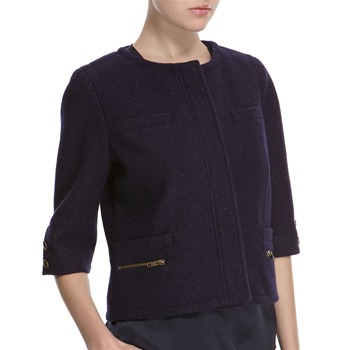 Hoss Intropia Navy Wool Blend Metallic Cropped Jacket