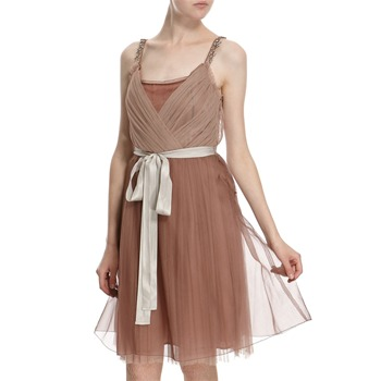 Hoss Intropia Dusty Pink/Tan Silk Crossover Embellished Dress
